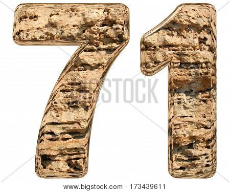 Numeral 71, Seventy One, Isolated On White, Natural Limestone, 3D Illustration