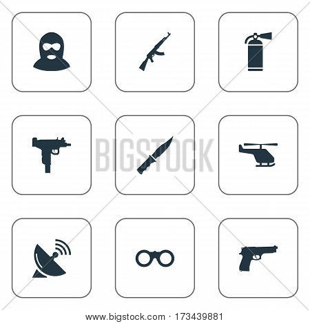Set Of 9 Simple War Icons. Can Be Found Such Elements As Terrorist, Firearm, Pistol And Other.