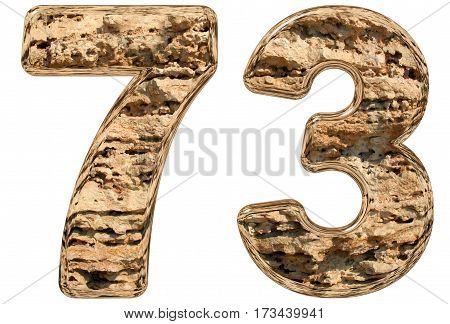 Numeral 73, Seventy Three, Isolated On White, Natural Limestone, 3D Illustration