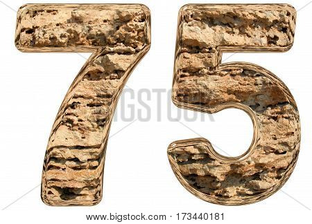 Numeral 75, Seventy Five, Isolated On White, Natural Limestone, 3D Illustration