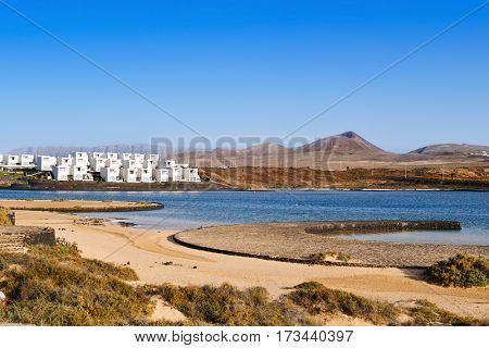 a view of the peculiar La Santa Beach in Lanzarote, Canary Islands, Spain