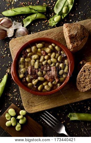high-angle shot of an earthenware bowl with habas a la catalana, a spanish recipe of broad beans, on a rustic wooden table with ingredients to prepare it