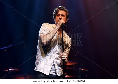 HUNTINGTON, NY-FEB 25: Aaron Tveit performs onstage at the Paramount on February 25, 2017 in Huntington, New York.