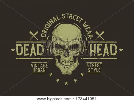 Dead head in headphones.Isolated on black background.Prints design for t-shirt.Street style label of skull