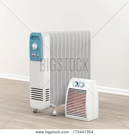 Electric oil-filled and fan heaters, 3D illustration