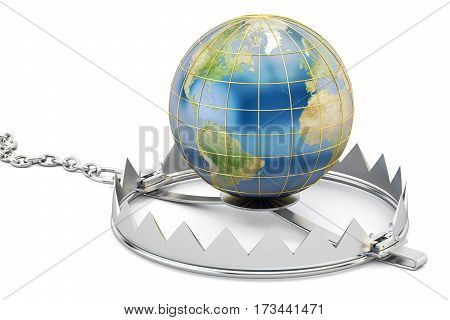 Earth Globe In Bear Trap 3D rendering isolated on white background