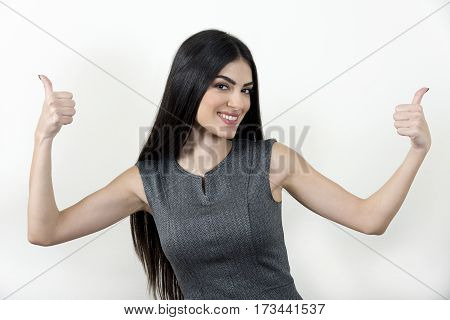 Businesswoman Showing Thumbs Up.