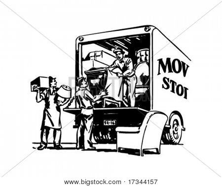 Packing Moving Van - Retro Clip Art