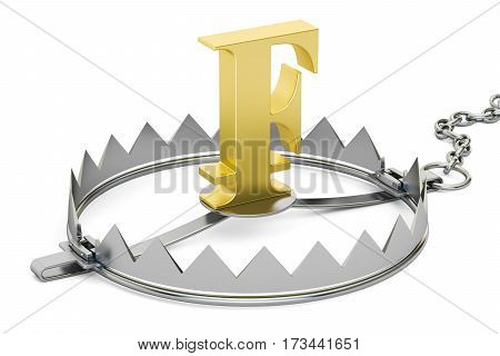 money trap with franc 3D rendering isolated on white background