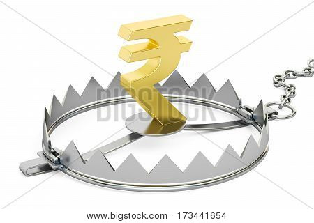 money trap with rupee 3D rendering isolated on white background