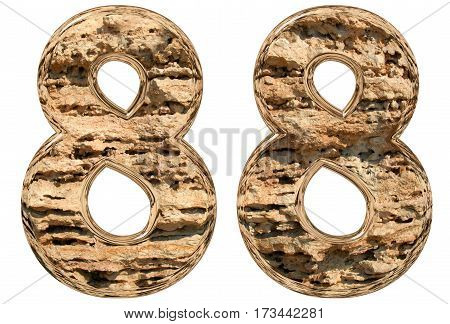 Numeral 88, Eighty Eight, Isolated On White, Natural Limestone, 3D Illustration
