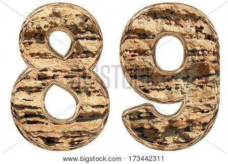 Numeral 89, Eighty Nine, Isolated On White, Natural Limestone, 3D Illustration