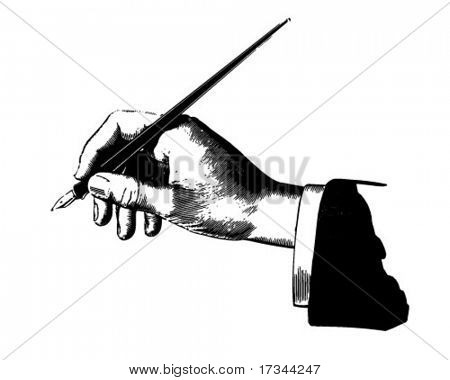 Hand With Pen - Retro Clip Art