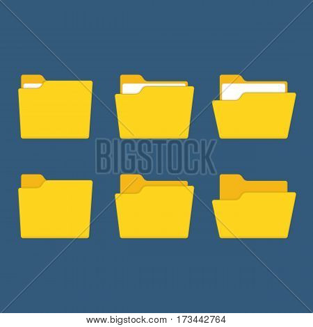 Folder icons set, isolated on blue background. Open and close yellow folders with documents. Modern flat design vector illustration concept for web banners, web and mobile app, web sites, infographic.