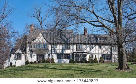Magnificent Stucco English Tudor Home poster
