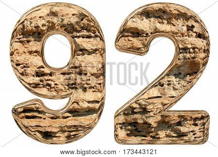 Numeral 92, Ninety Two, Isolated On White, Natural Limestone, 3D Illustration