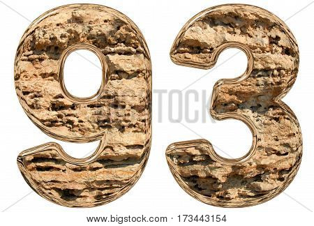 Numeral 93, Ninety Three, Isolated On White, Natural Limestone, 3D Illustration