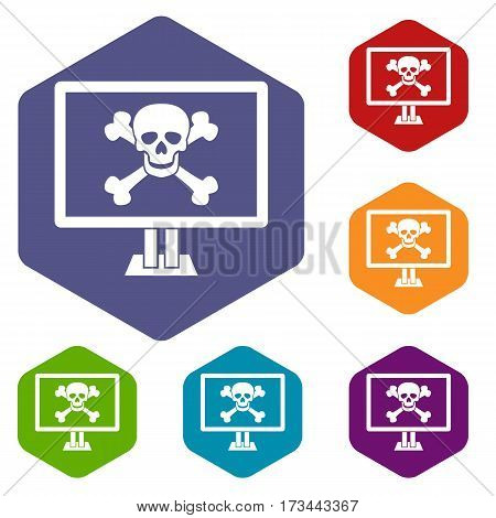 Computer monitor with a skull and bones icons set rhombus in different colors isolated on white background