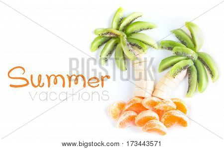 Fruit salad in form of tropical plams on white plate, summer vacations concept