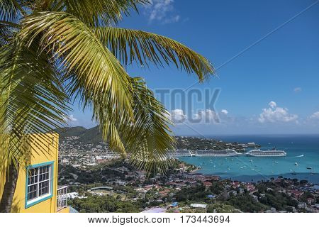 The beautiful town of Charlotte Amalie in Saint Thomas  US virgin islands in the Caribbean sea