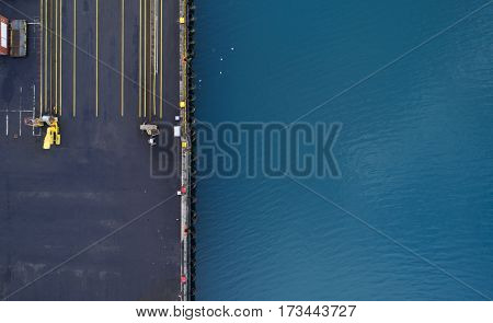 Aerial image of industrial dock area
