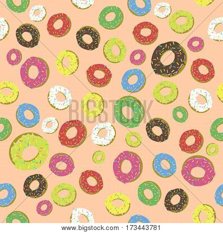 Colorful Fresh Sweet Donuts Seamless Pattern on Orange Background. Delicios Tasty Glazed Donut. Cream Yummy Cookie.