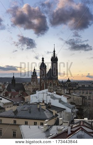 Cloudy sunset over historic town Krakow in Poland