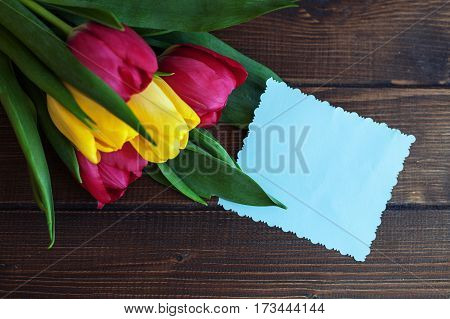 Background with flowers and a card for congratulations. Top view. Concept of holiday birthday Easter March 8.