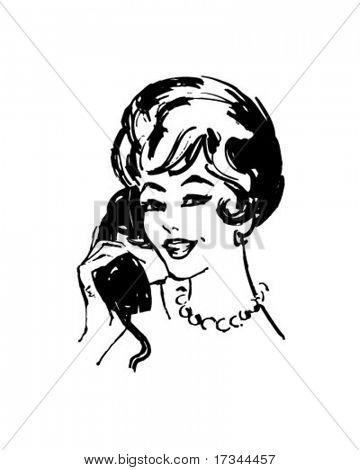 Woman On The Phone - Retro Clip Art