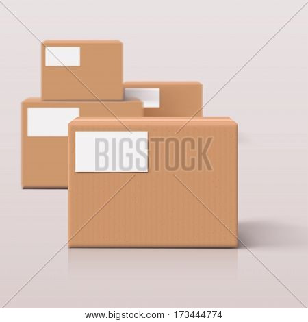 illustration of carton boxes group on bright background with shadows