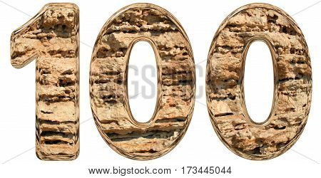 Numeral 100, One Hundred, Isolated On White, Natural Limestone, 3D Illustration