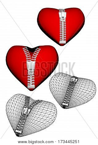 set of hearts with zipper. opening and closed hearts with zipper