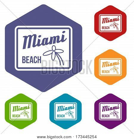 Miami beach icons set rhombus in different colors isolated on white background