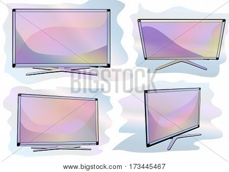 set of tv. four television on multicolor background