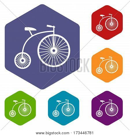 Penny-farthing icons set rhombus in different colors isolated on white background poster