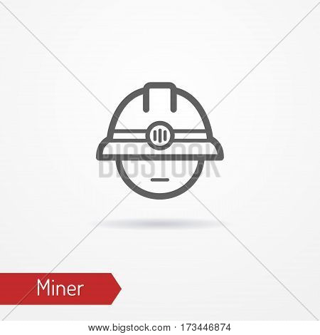 Typical simplistic miner face in professional helmet with headlight. Miner or digger head isolated icon in line style with shadow. Profession and industrial vector stock image.