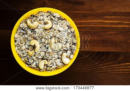 Muesli With Nuts Cashew. Muesli On A Wooden Table. Muesli Top View . Healthy Food