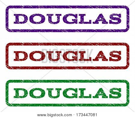 Douglas watermark stamp. Text caption inside rounded rectangle frame with grunge design style. Vector variants are indigo blue red green ink colors. Rubber seal stamp with dust texture.
