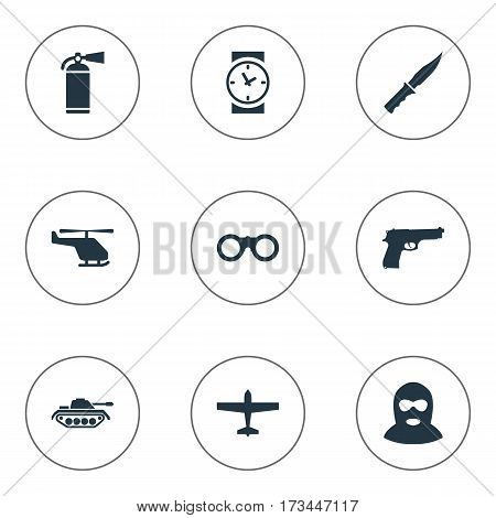 Set Of 9 Simple Army Icons. Can Be Found Such Elements As Helicopter, Watch, Field Glasses And Other.