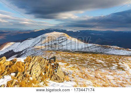 Winter Mountains Landscape, Bieszczady National Park, Poland