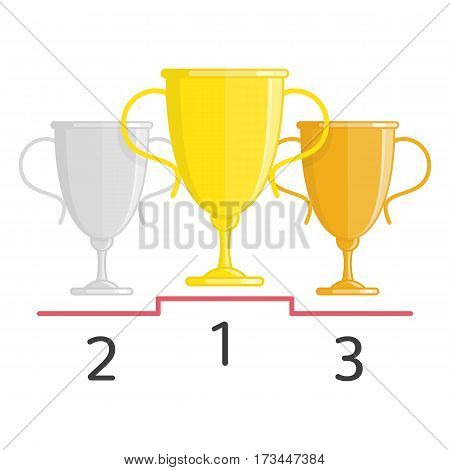 Gold, silver and bronze winners cups. Three Champions Cup trophies isolated on white background. Sports winning and championship and competition success concept. Vector illustration flat style. EPS 10