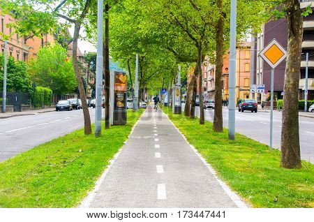 Bologna Italy 17 April 2016 - bicycle lane in the middle of the ring road of Bologna best know as Viali di Bologna