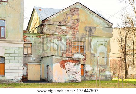 Old abandoned building in Kolpino town on the outskirts of St. Petersburg Russia.