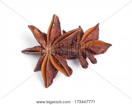 Anise star spice isolated on white