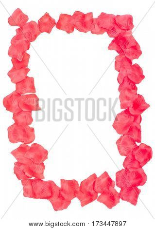 Rose petals frame isolated on white background