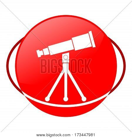Red icon, telescope vector illustration on white background