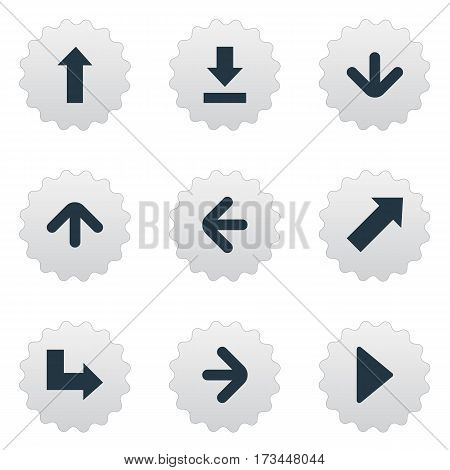 Set Of 9 Simple Pointer Icons. Can Be Found Such Elements As Downwards Pointing, Indicator , Right Landmark.