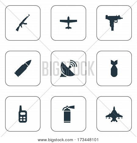 Set Of 9 Simple Terror Icons. Can Be Found Such Elements As Nuke, Sky Force, Air Bomber And Other.