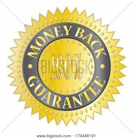 A textured gold money back guaranteed badge isolated on a white background