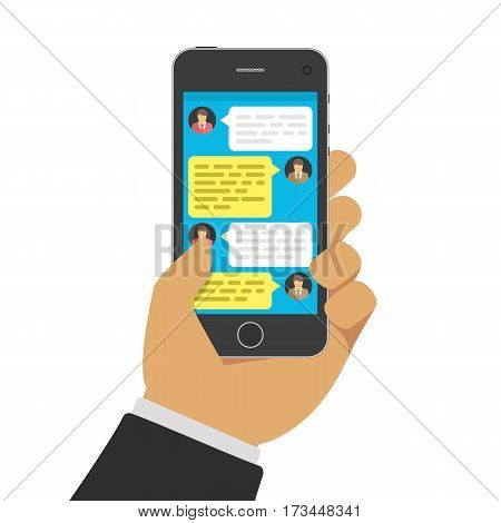 Hand with smartphone and chatting bubble speeches on screen. Online talking, conversation or dialog concept. Mobile Phone chat message notifications. Vector illustration. EPS 10.